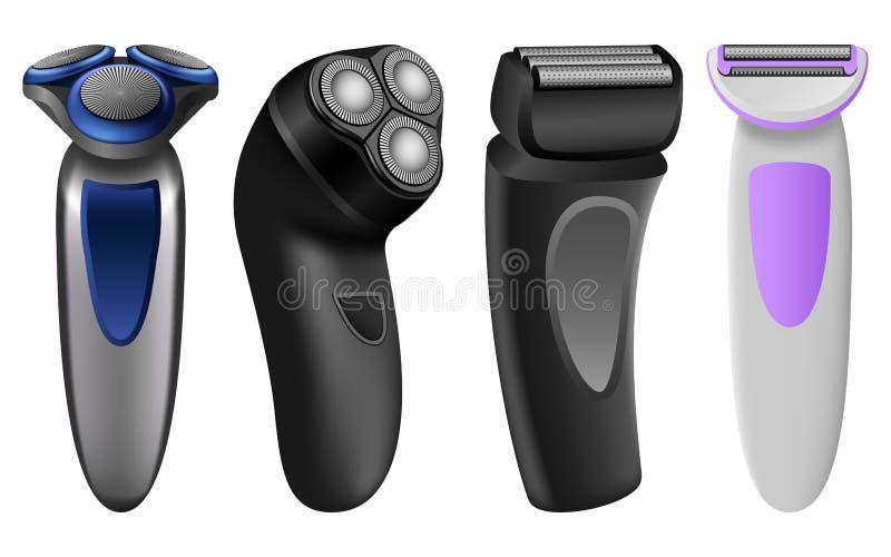 Sistema eléctrico de la maqueta de la maquinilla de afeitar de la máquina de afeitar, estilo realista stock de ilustración