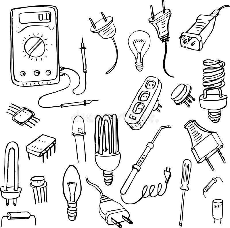Sistema eléctrico del garabato stock de ilustración