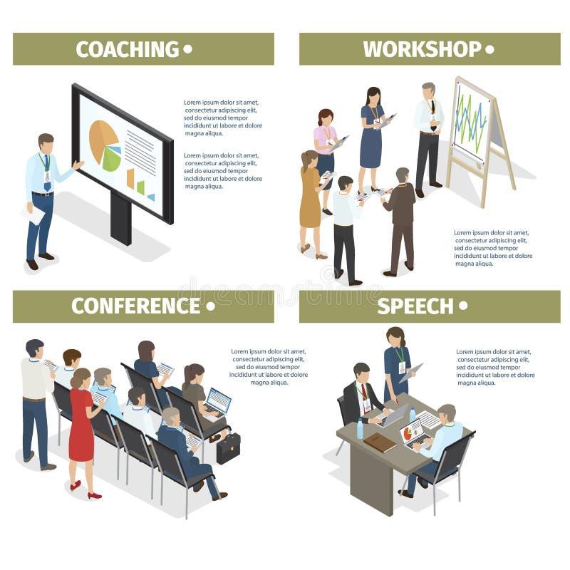 Sistema el entrenar, del taller, de la conferencia y del discurso libre illustration