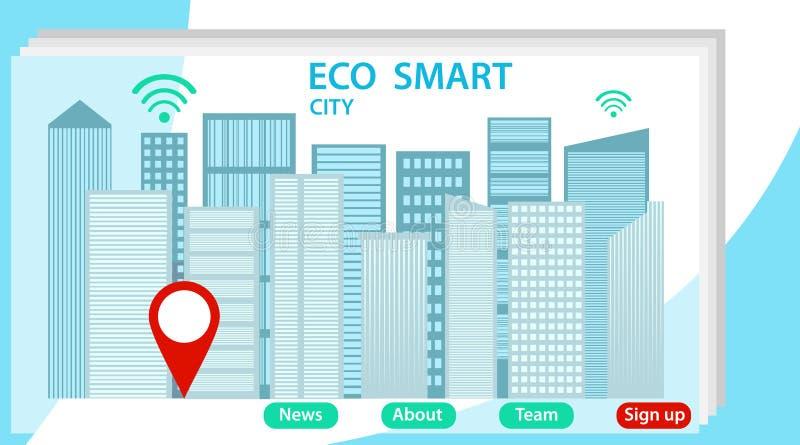 Sistema elegante del eco de la ciudad de la web para los ingenieros P?gina de aterrizaje con los edificios y calles c?ntricas, pe stock de ilustración