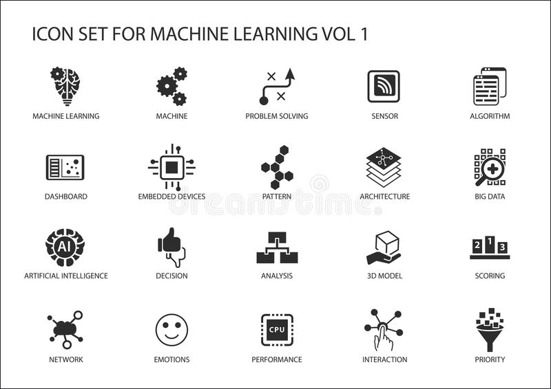Sistema elegante del icono del aprendizaje de máquina libre illustration