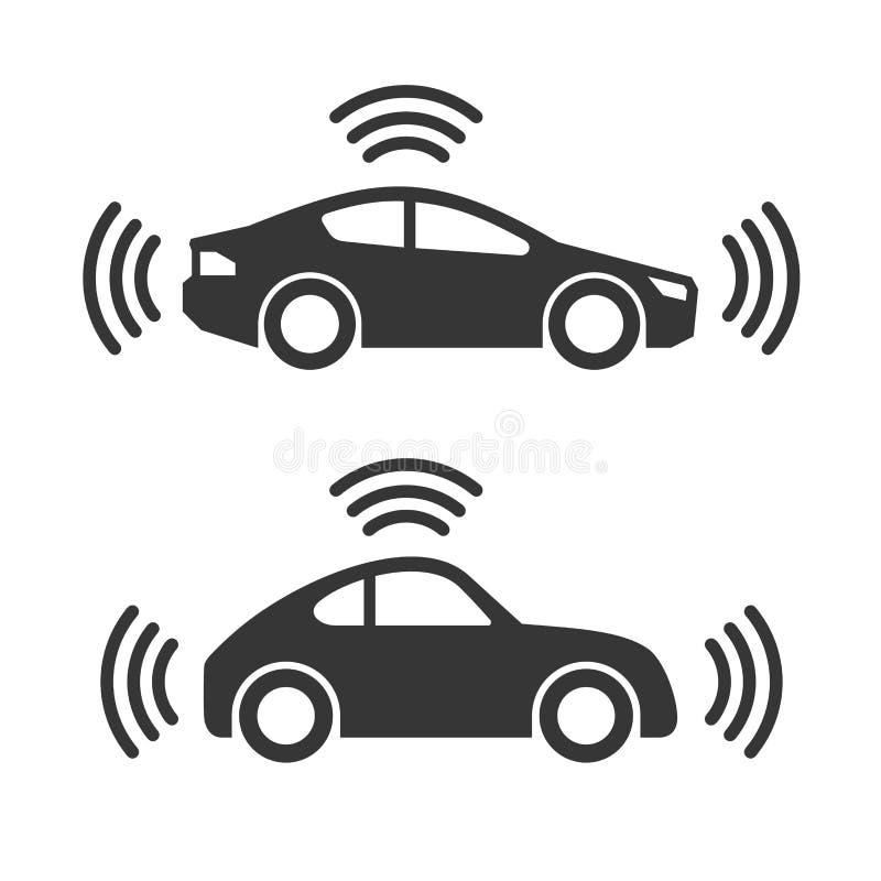 Sistema elegante del icono del coche stock de ilustración