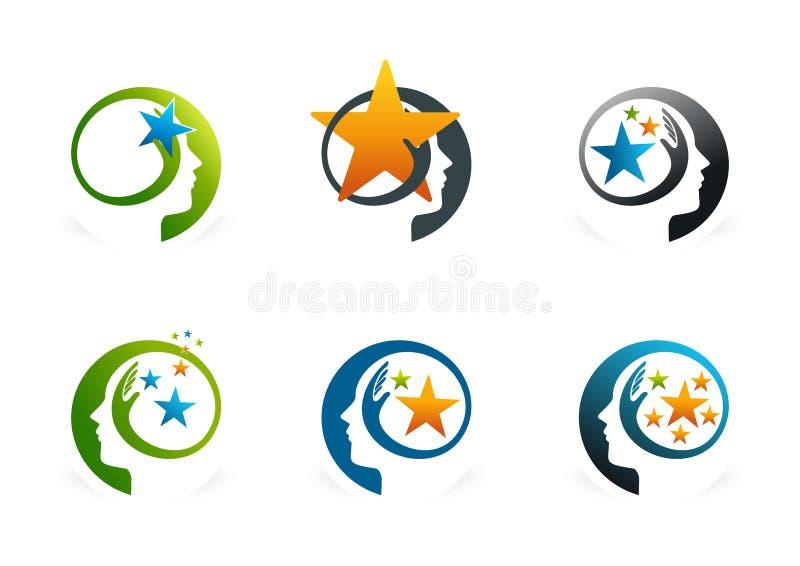 Sistema elegante del logotipo del cerebro stock de ilustración