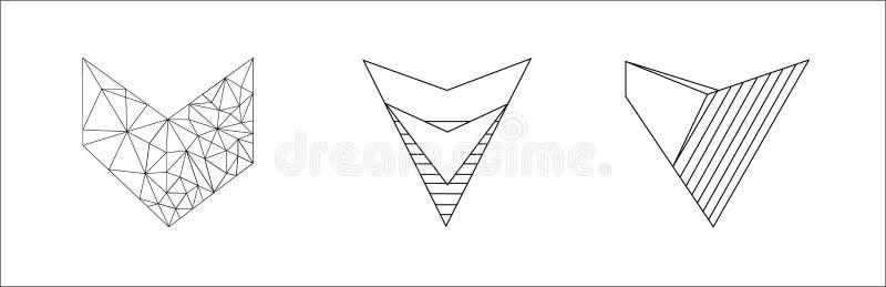 Sistema elegante del vector de corazones blancos y negros aislados en el fondo blanco imagen de archivo