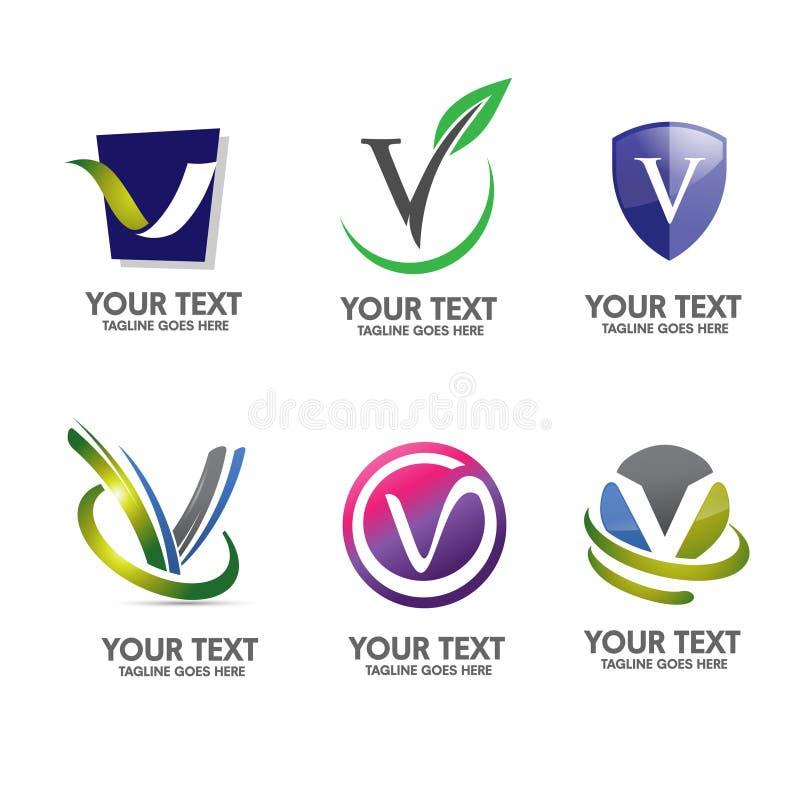 Sistema elegante del vector del concepto del logotipo de la letra V ilustración del vector