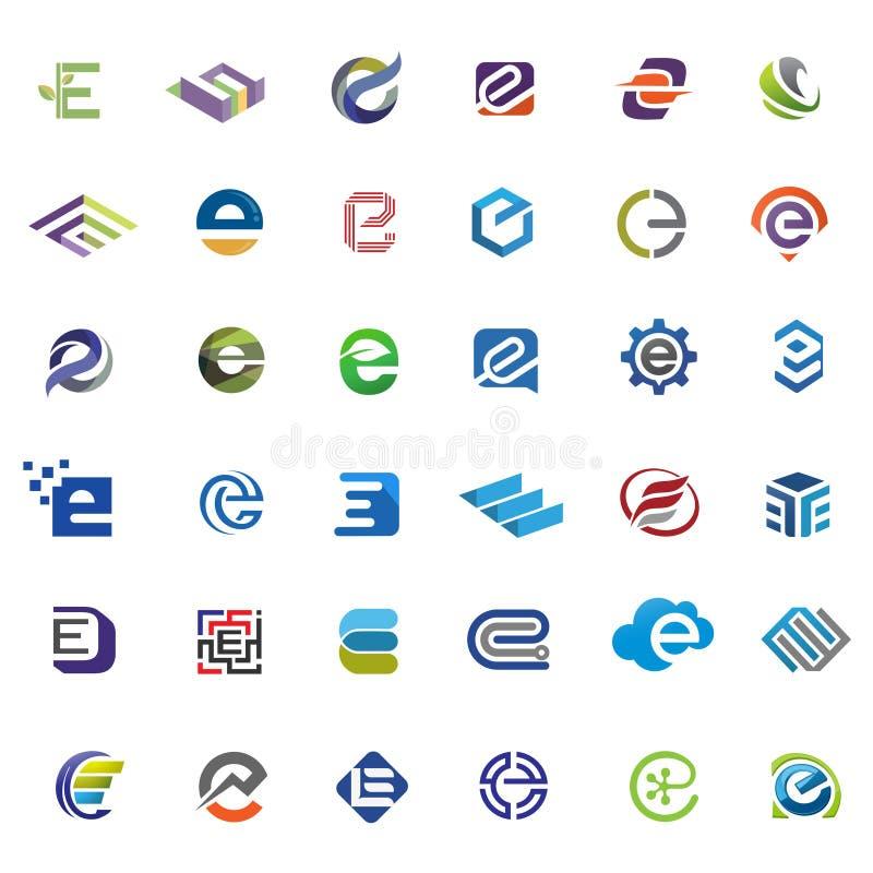 Sistema elegante del vector del logotipo de la letra e stock de ilustración