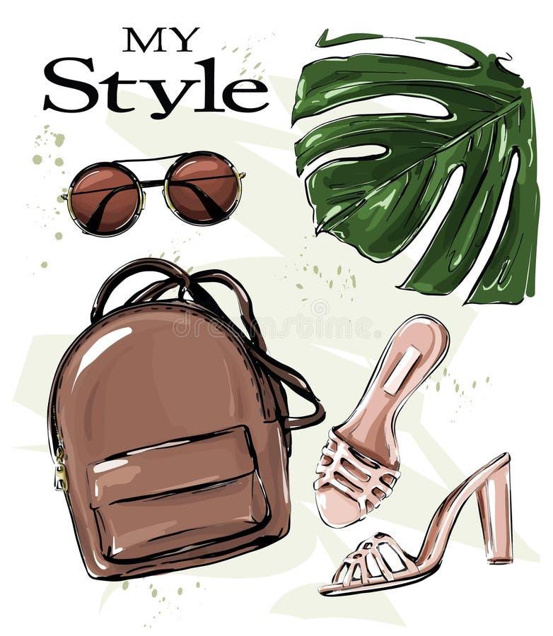 Sistema elegante exhausto de la mano con la mochila, los zapatos, las gafas de sol y la hoja de palma Conjunto de la manera Equip libre illustration