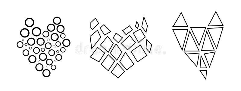 Sistema elegante, moderno, linear de corazones blancos y negros Gráficos, amor y lógica stock de ilustración