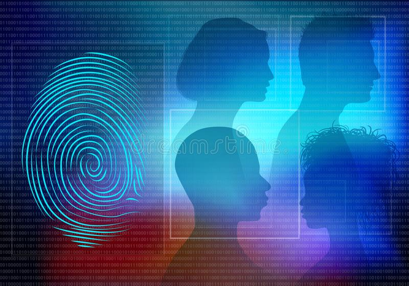 Sistema eletrônico biométrico para a identificação da identidade Fundo com as caras do homem e da mulher dos povos na silhueta do