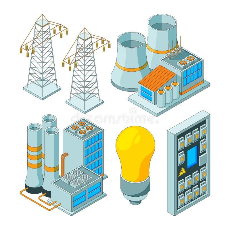 Sistema elettrico di energia I generatori di illuminazione di potere che conservano la luce elettrica foggia le illustrazioni iso illustrazione vettoriale
