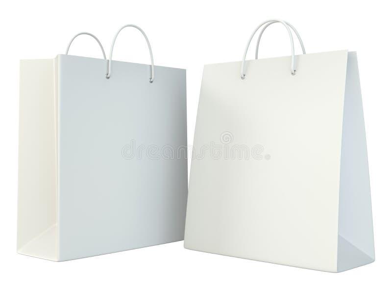 Sistema en blanco de la plantilla de las bolsas de papel de las compras ilustración del vector