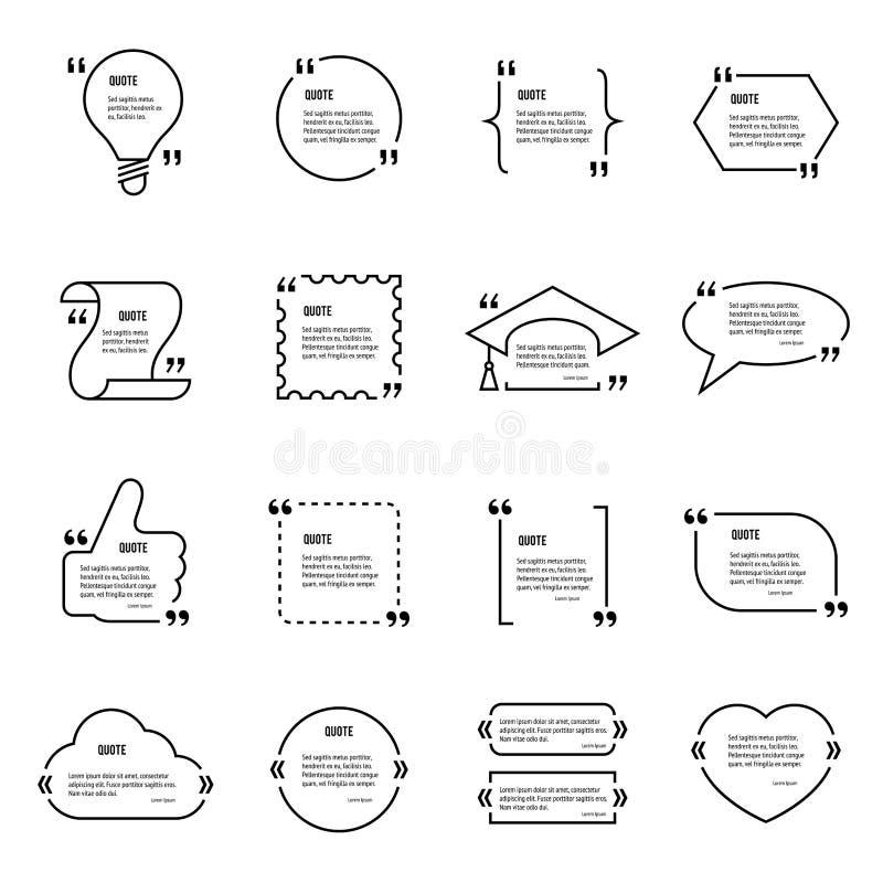 Sistema en blanco de la plantilla del vector de la cita ilustración del vector