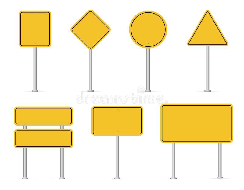 Sistema en blanco de las señales de tráfico Placas de calle amarillas vacías Ilustraci?n del vector stock de ilustración