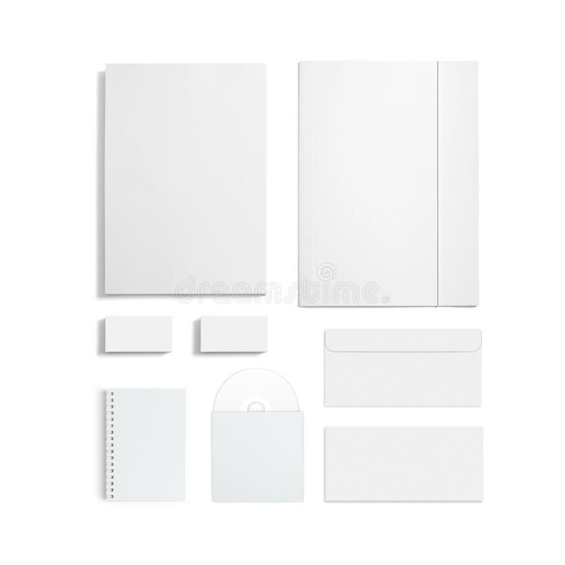 Sistema en blanco de los efectos de escritorio aislado en blanco fotografía de archivo