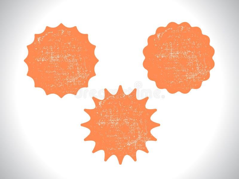 Sistema en blanco del grunge del sello de sellos con texturas ilustración del vector
