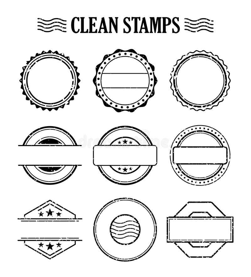 Sistema en blanco del sello, efecto de goma de la textura del sello de la tinta ilustración del vector