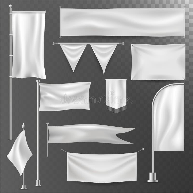 Sistema en blanco blanco del vector de la maqueta de la plantilla del ejemplo de diversa del realistik plantilla de la bandera ilustración del vector