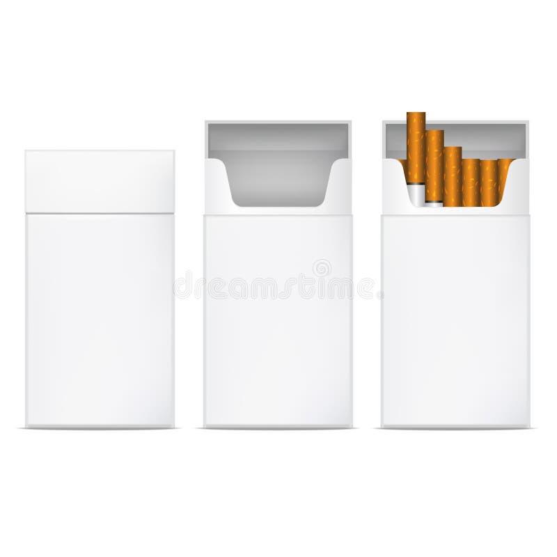 Sistema en blanco blanco detallado realista de la maqueta de la plantilla de los cigarrillos 3d Vector ilustración del vector