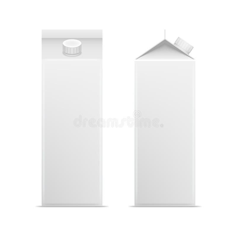 Sistema en blanco blanco detallado realista del paquete del cartón de la leche 3d Vector libre illustration