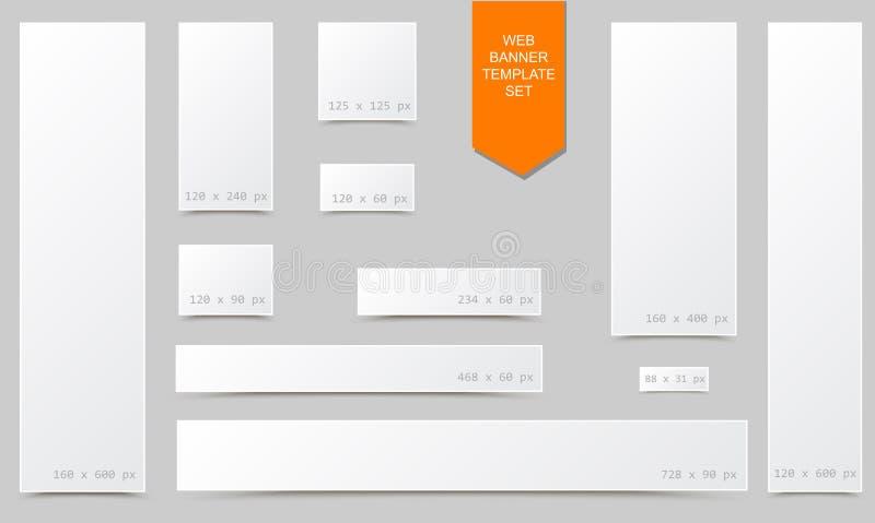 Sistema en blanco vacío de la bandera del web del tamaño estándar con efecto de bordes encrespado y sombra aislada ilustración del vector
