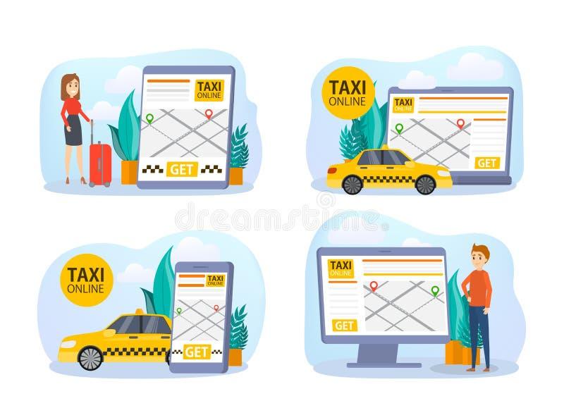 Sistema en línea de la reservación del taxi Coche de la orden en teléfono móvil libre illustration