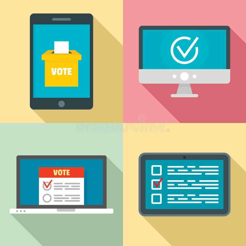 Sistema en línea de los iconos del voto, estilo plano libre illustration