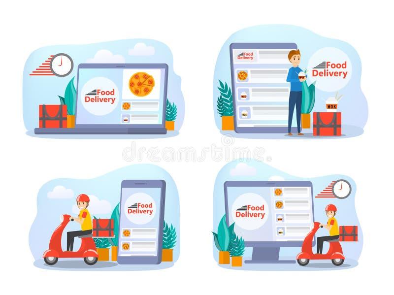 Sistema en línea del concepto de la entrega de la comida Orden de la comida en Internet libre illustration