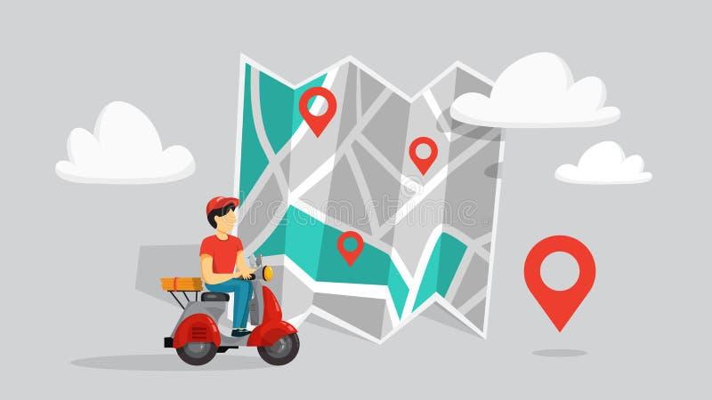 Sistema en línea del concepto de la entrega de la comida Orden de la comida en Internet stock de ilustración