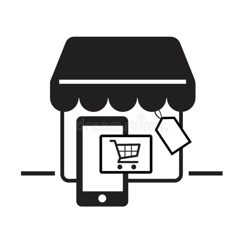 Sistema en línea del icono del comercio electrónico, smartphone, carro, tienda Ilustrador del vector ilustración del vector