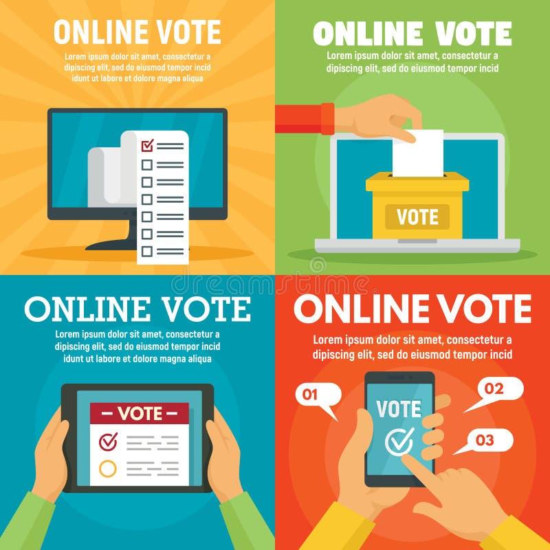 Sistema en línea moderno de la bandera del voto, estilo plano stock de ilustración