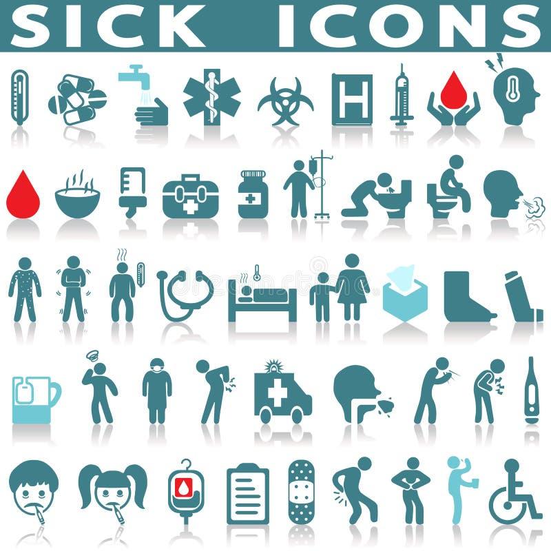Sistema enfermo del icono stock de ilustración