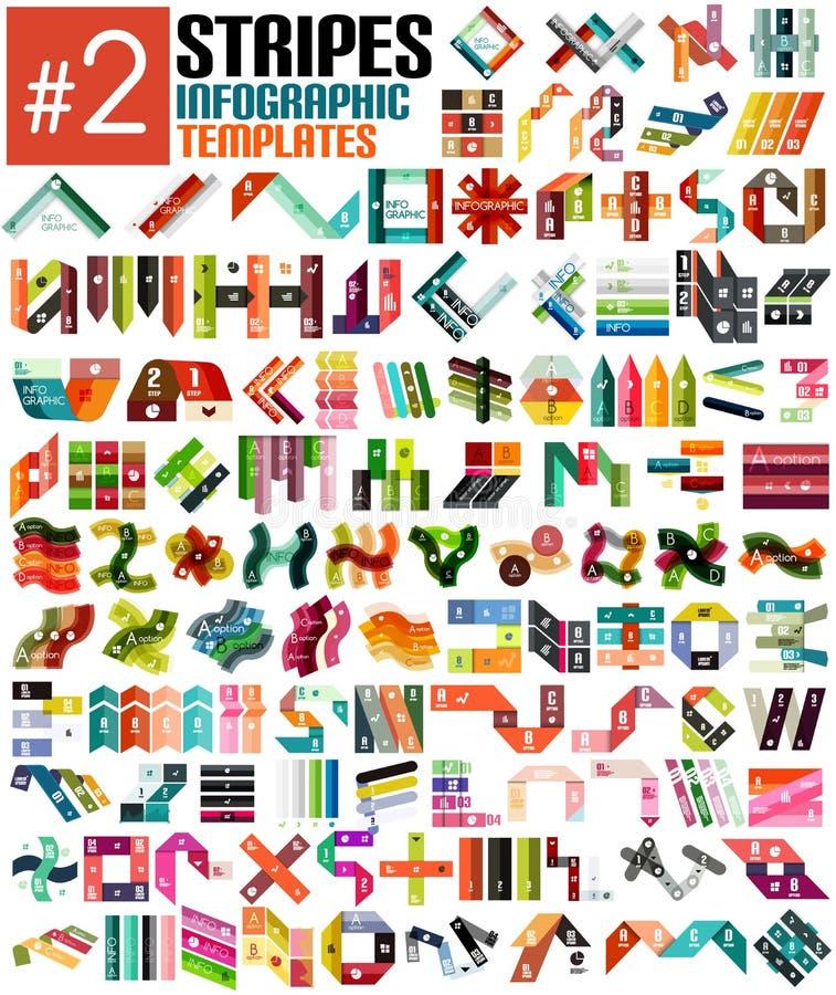 Sistema enorme de las plantillas infographic #2 de la raya stock de ilustración