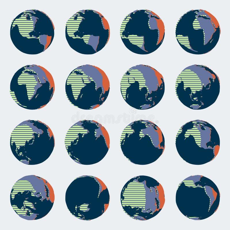 Sistema enorme del globo cómico del estilo con los colores brillantes para los ejemplos políticos ilustración del vector