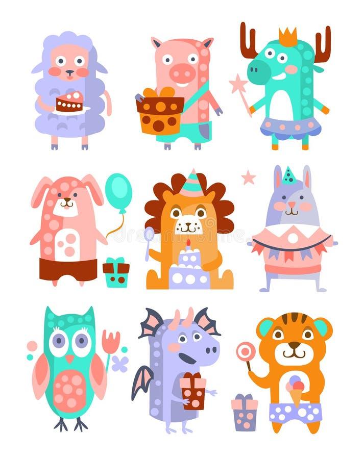 Sistema enrrollado estilizado de la etiqueta engomada de la fiesta de cumpleaños de los animales stock de ilustración