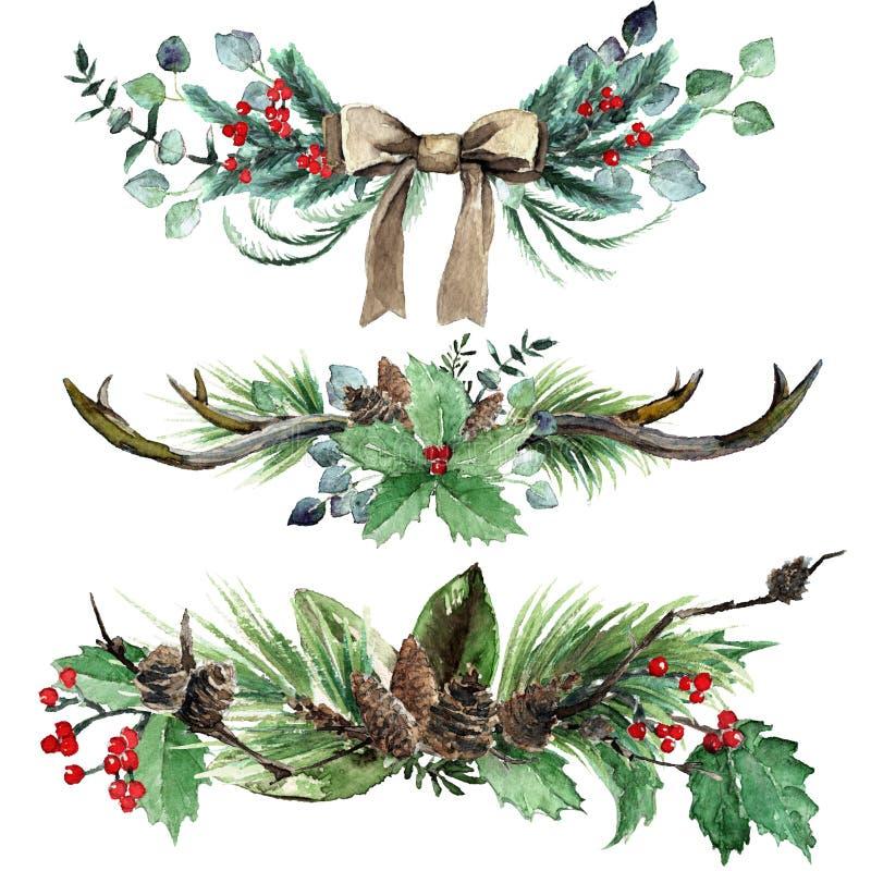 Sistema escandinavo de la composición de la Navidad de la acuarela ilustración del vector
