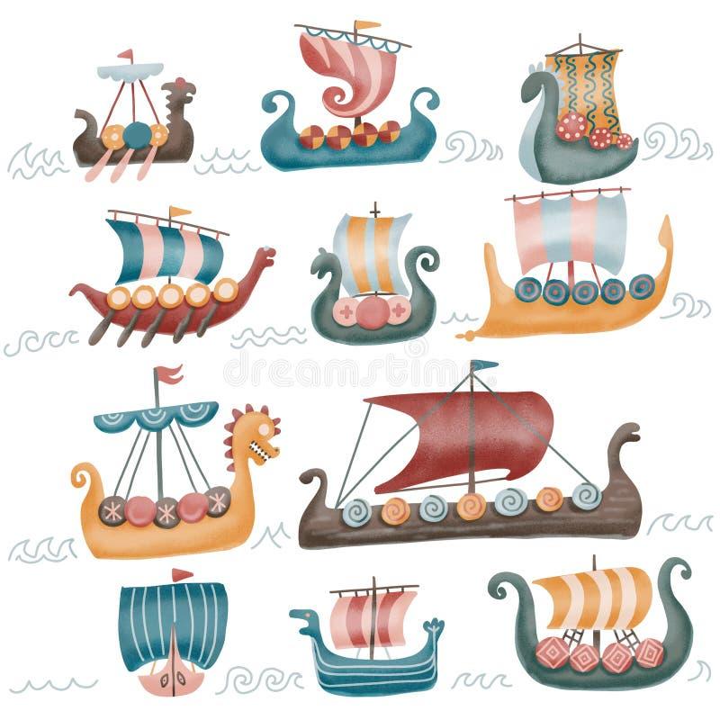 Sistema escandinavo de los draccars de Viking, nave normanda con los ejemplos texturizados color aislados en un fondo blanco 11 stock de ilustración