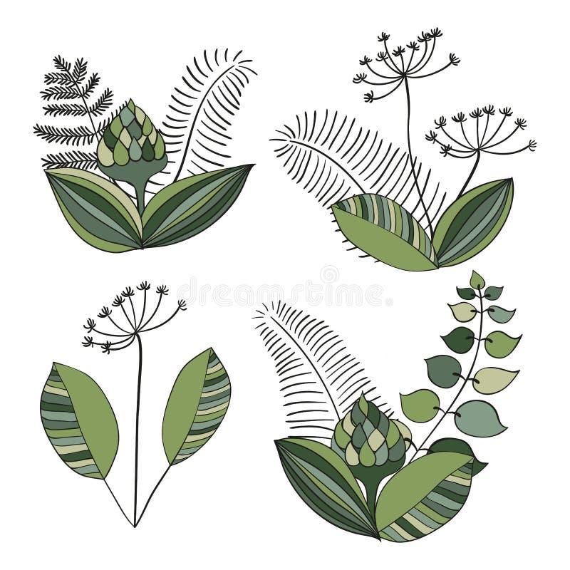 Sistema escandinavo del ornamento floral del vector stock de ilustración