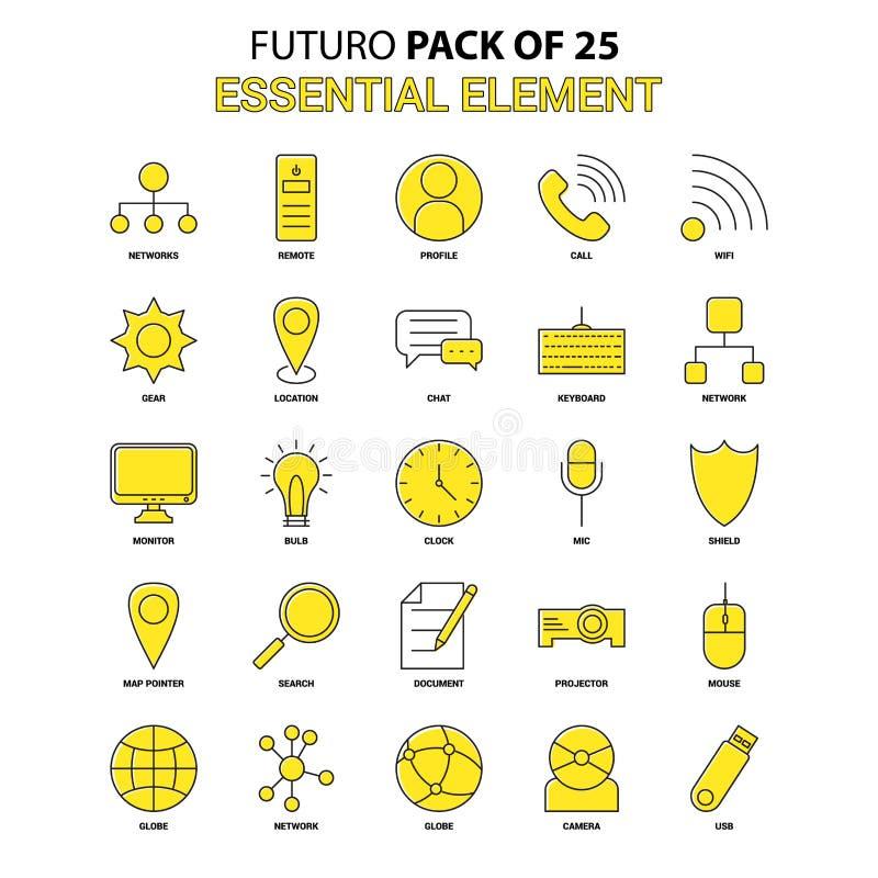 Sistema esencial del icono del elemento Último icono amarillo Pac del diseño de Futuro ilustración del vector