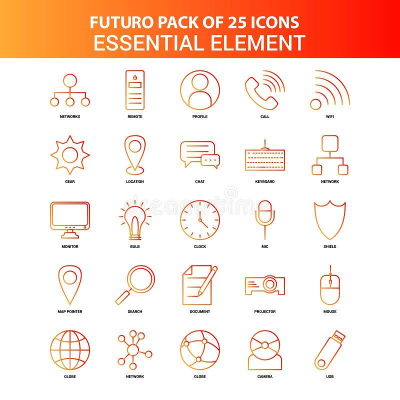 Sistema esencial del icono del elemento de Futuro 25 anaranjados stock de ilustración