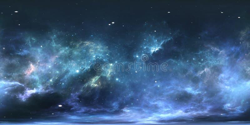 Sistema estelar e nebulosa da realidade virtual Panorama, mapa do ambiente 360 HDRI Projeção de Equirectangular, panorama esféric ilustração stock