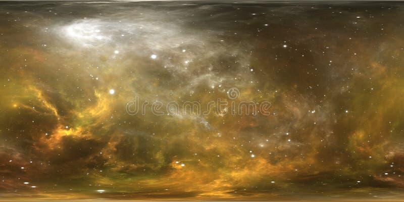 Sistema estelar y nebulosa de la realidad virtual Panorama, mapa del ambiente 360 HDRI Proyección de Equirectangular, panorama es ilustración del vector