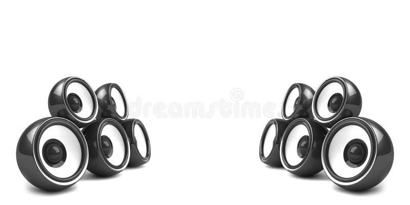 Sistema estereofónico à moda preto ilustração stock