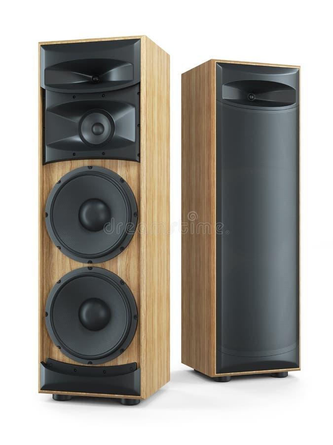 Sistema estereofônico de alta fidelidade de dois oradores grandes do som da torre 3d ilustração stock