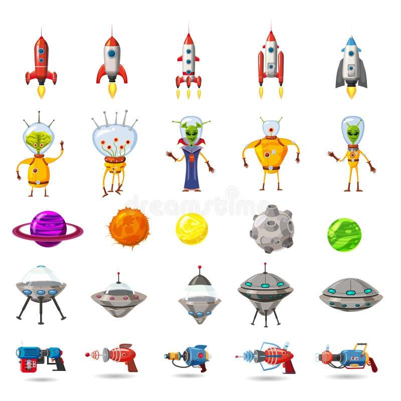 Sistema estupendo de espacio, planetas, UFO, cohetes, extranjeros, arenadores, para los juegos, usos, anuncios, carteles, animaci stock de ilustración