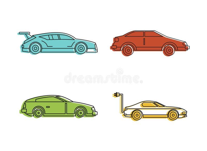 Sistema estupendo del icono del coche, estilo del esquema del color ilustración del vector