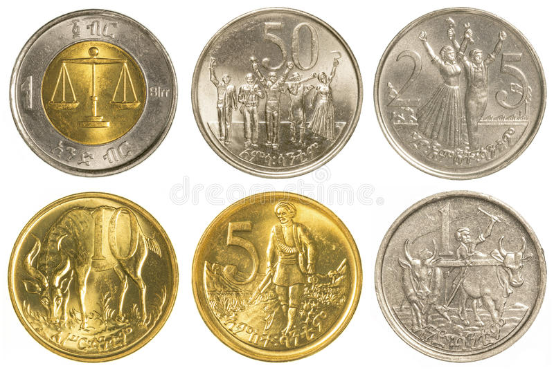 sistema etíope de la colección de monedas del birr imágenes de archivo libres de regalías