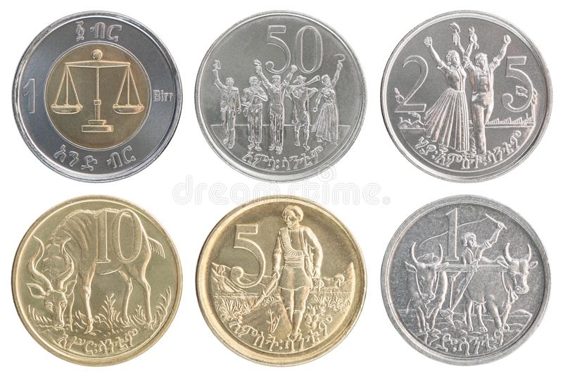 Sistema etíope de la moneda fotos de archivo libres de regalías