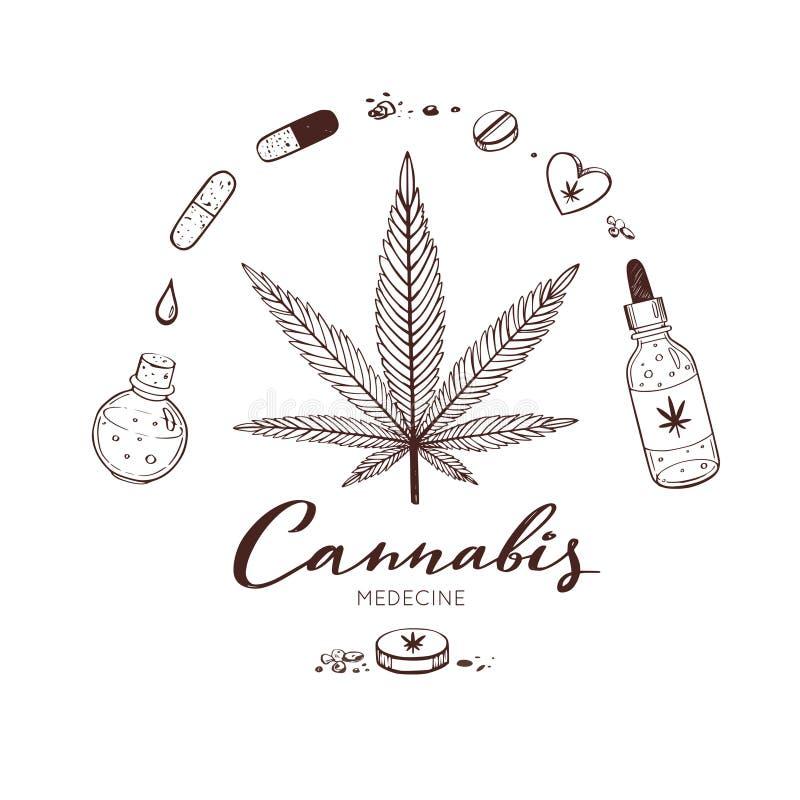 Sistema exhausto de banefits médicos del cáñamo, marijuana de Infographic de la mano del vector Píldoras, botellas, aceite y otro stock de ilustración