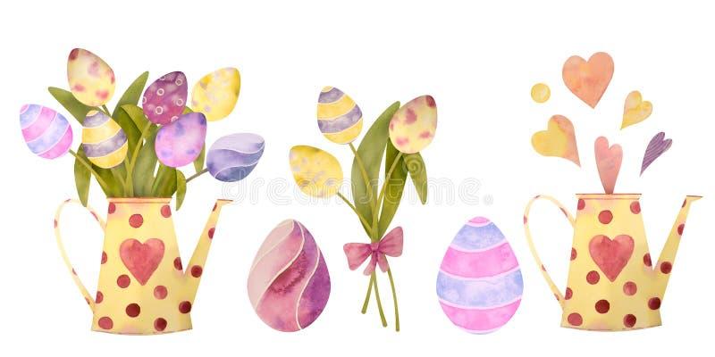 Sistema exhausto de la acuarela con los elementos de pascua feliz Flores, huevos, aislados todo en un fondo blanco ilustración del vector