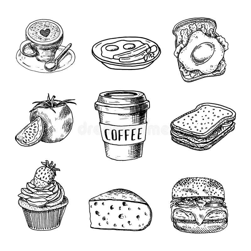 Sistema exhausto de la comida y de la bebida de la mano, taza del garabato y taza con el café, torta, queso, hamburguesa, plato,  ilustración del vector